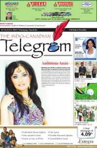 Front Page Feature in Indo Canadian Telegram