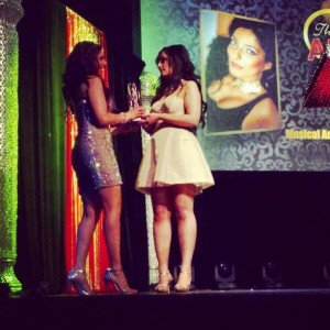 Presenting the award to Priya