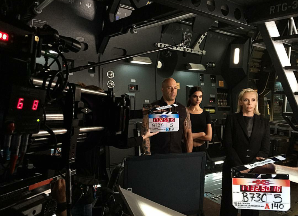 Behind the scenes of Deepika on set with Vin Diesel and Toni Collette