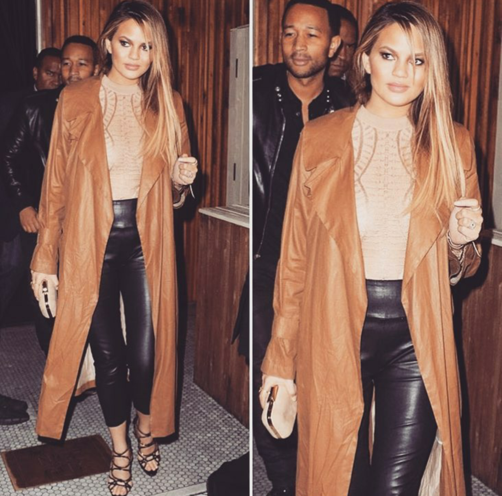 Chrissy Teigen looking absolutely stunning at dinner.